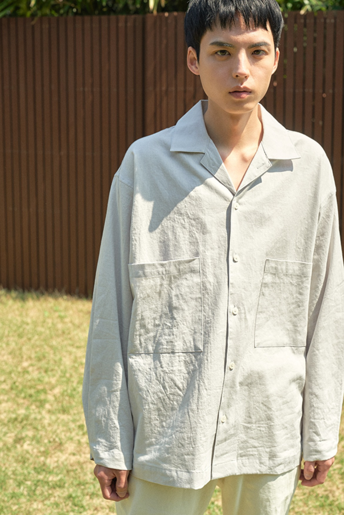 Linen Open Collar L/S Shits [Light Grey]