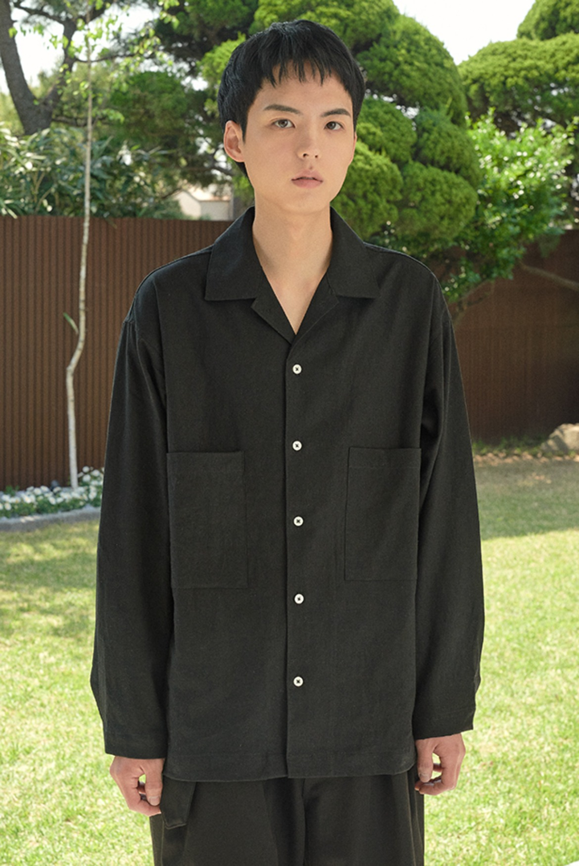 Linen Open Collar L/S Shirts [Black]