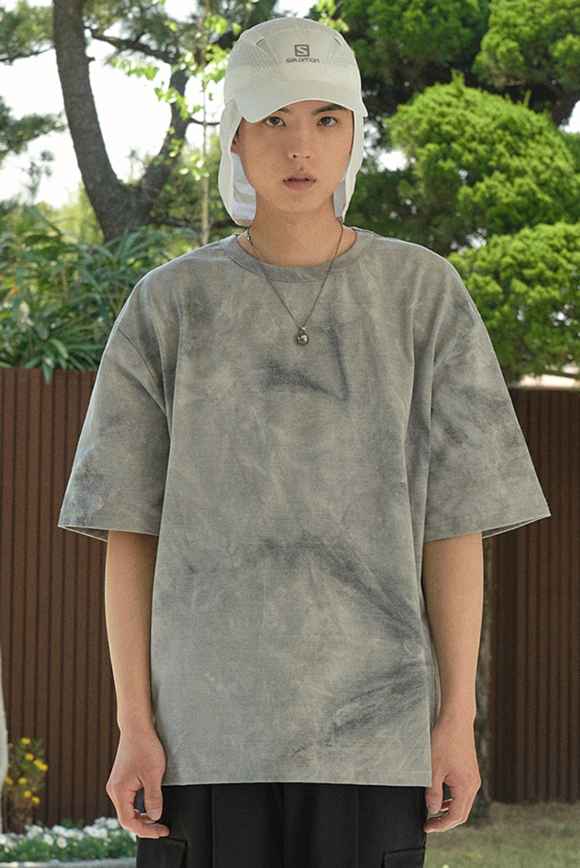 Oversize Water Washed T-Shirts [Grey]