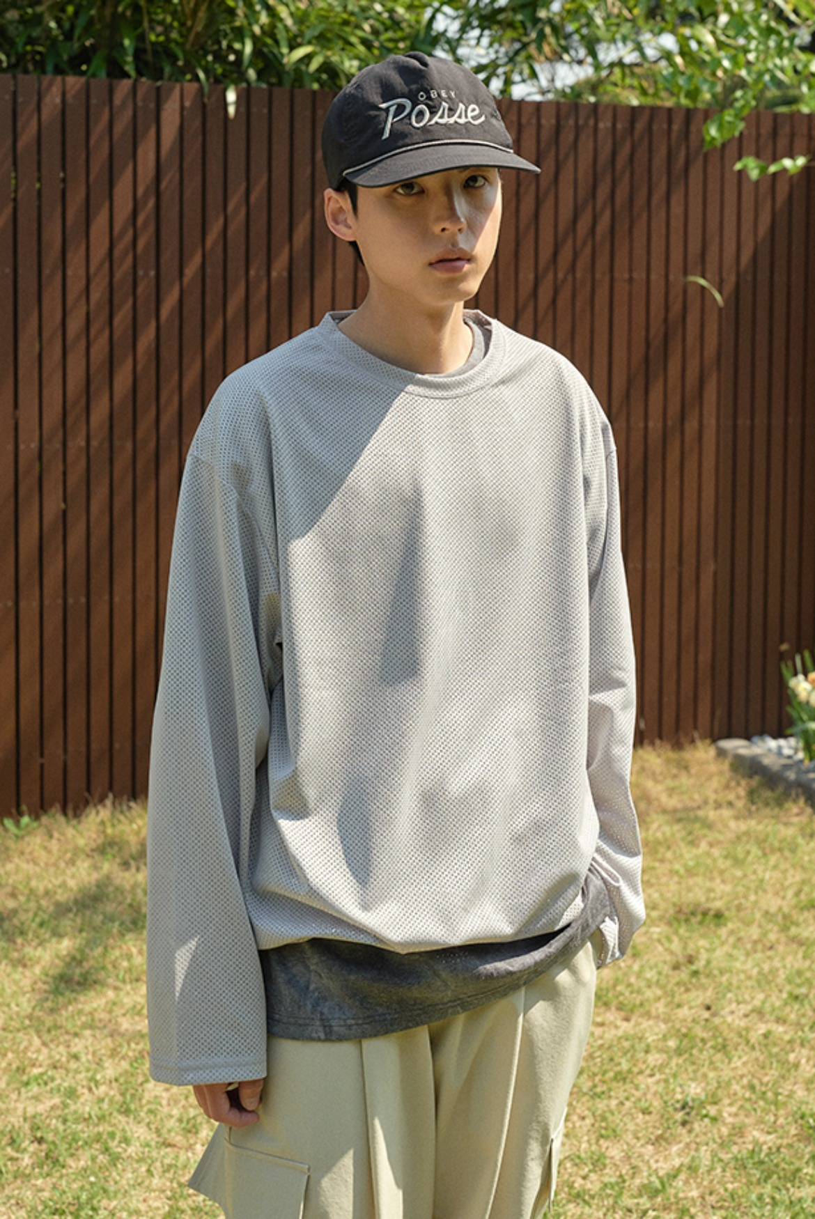Mesh String L/S T-Shirts [Light Grey]