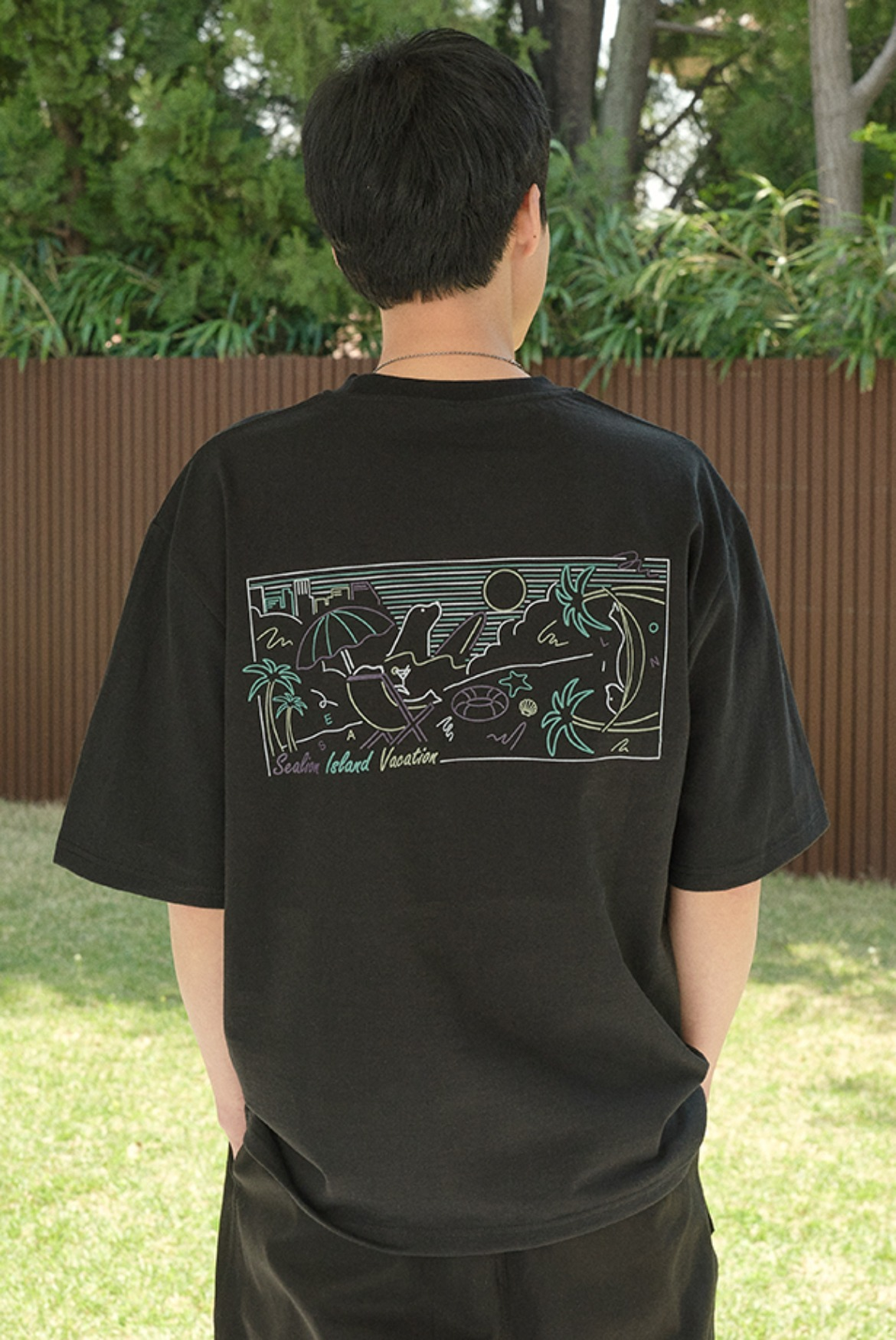 Sealion Pop Art T-Shirts [Black]