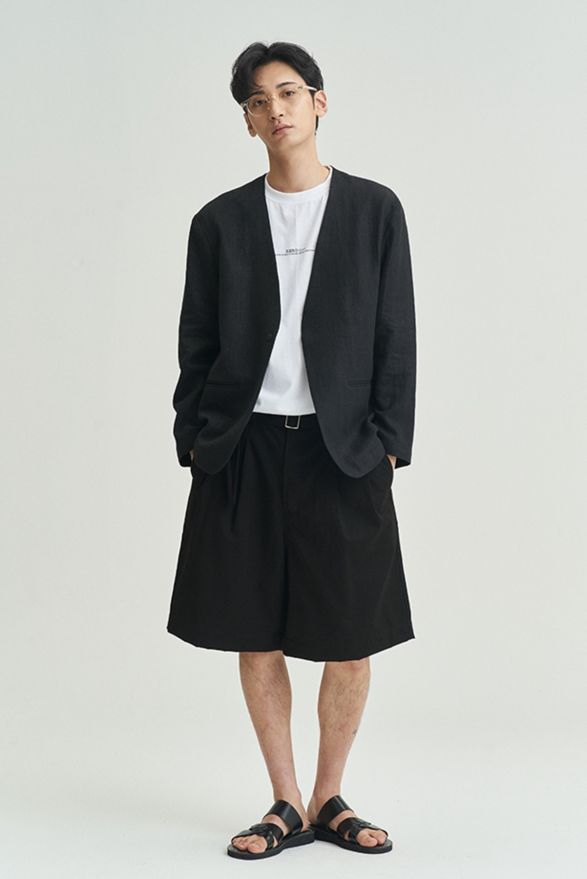 Tencel Wide Short Belted Pants [Black]