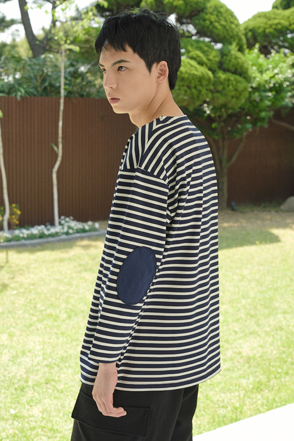 3/4 Stripe Patch T-Shirts [Cream/Navy]