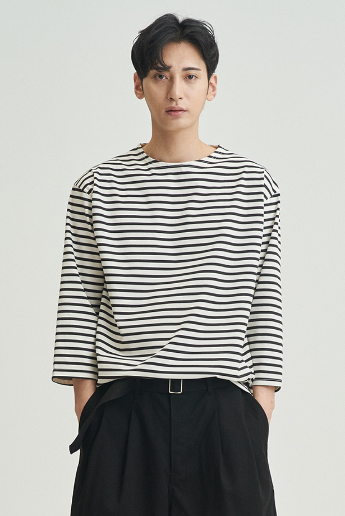 3/4 Stripe Patch T-Shirts [Black/Cream]