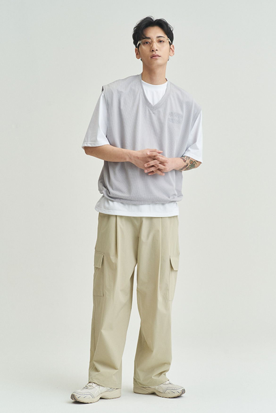 Deep One Tuck Cargo Pants [Beige]