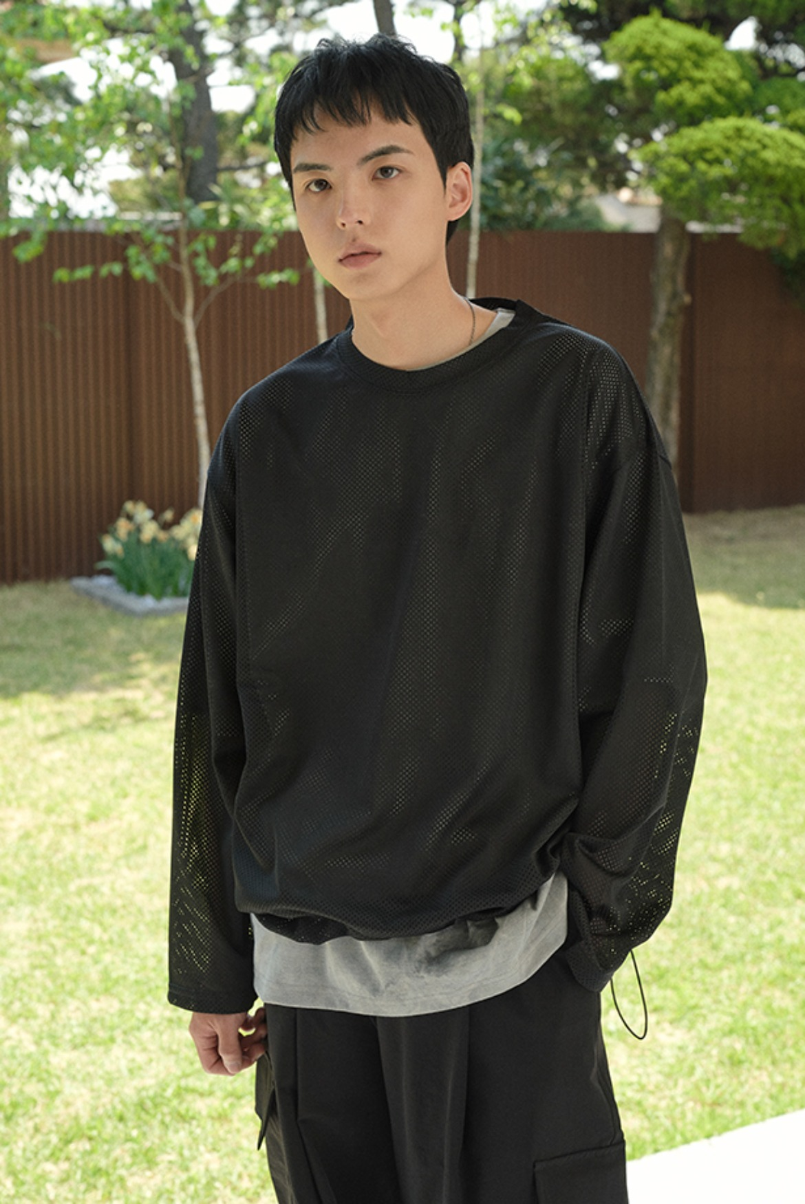 Mesh String L/S T-Shirts [Black]