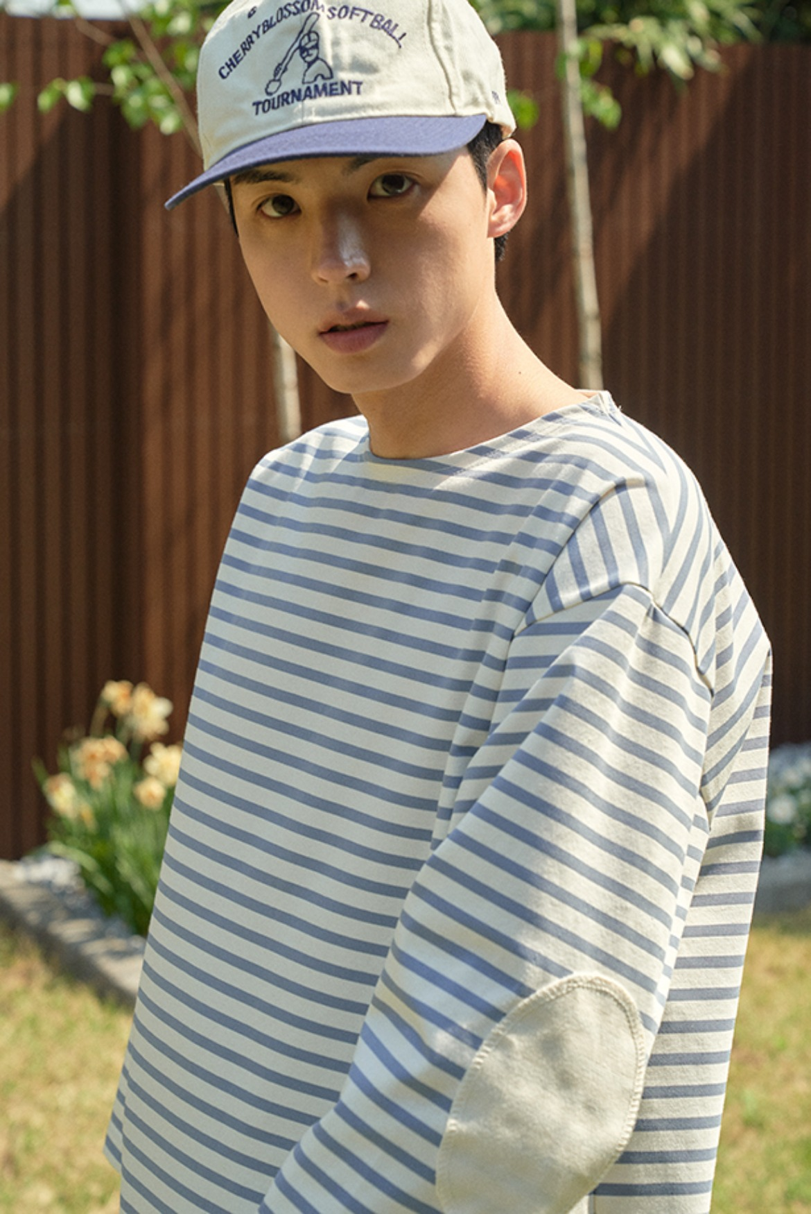 3/4 Stripe Patch T-Shirts [Sky Blue/Cream]