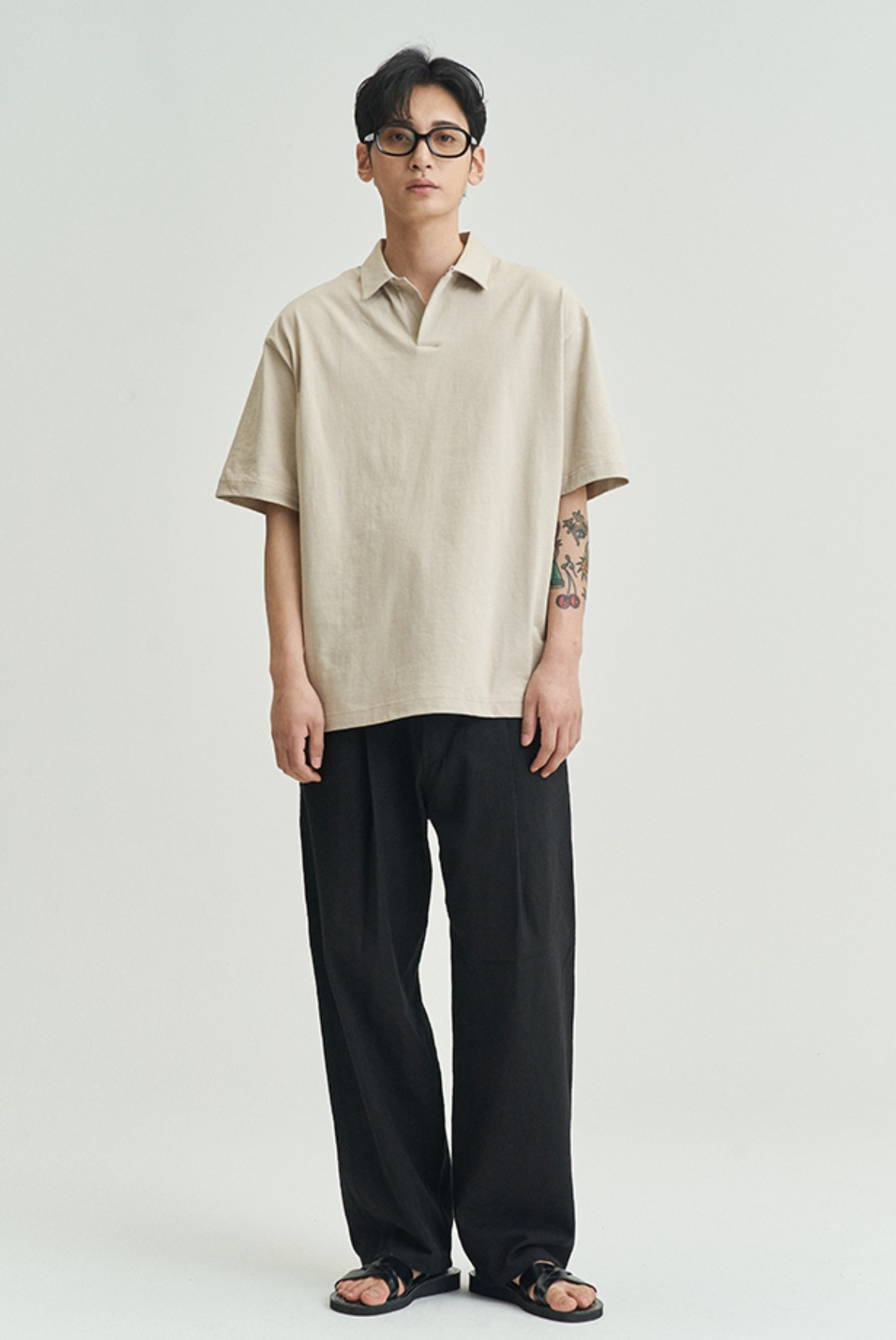 Linen Deep One Tuck Pants [Black]