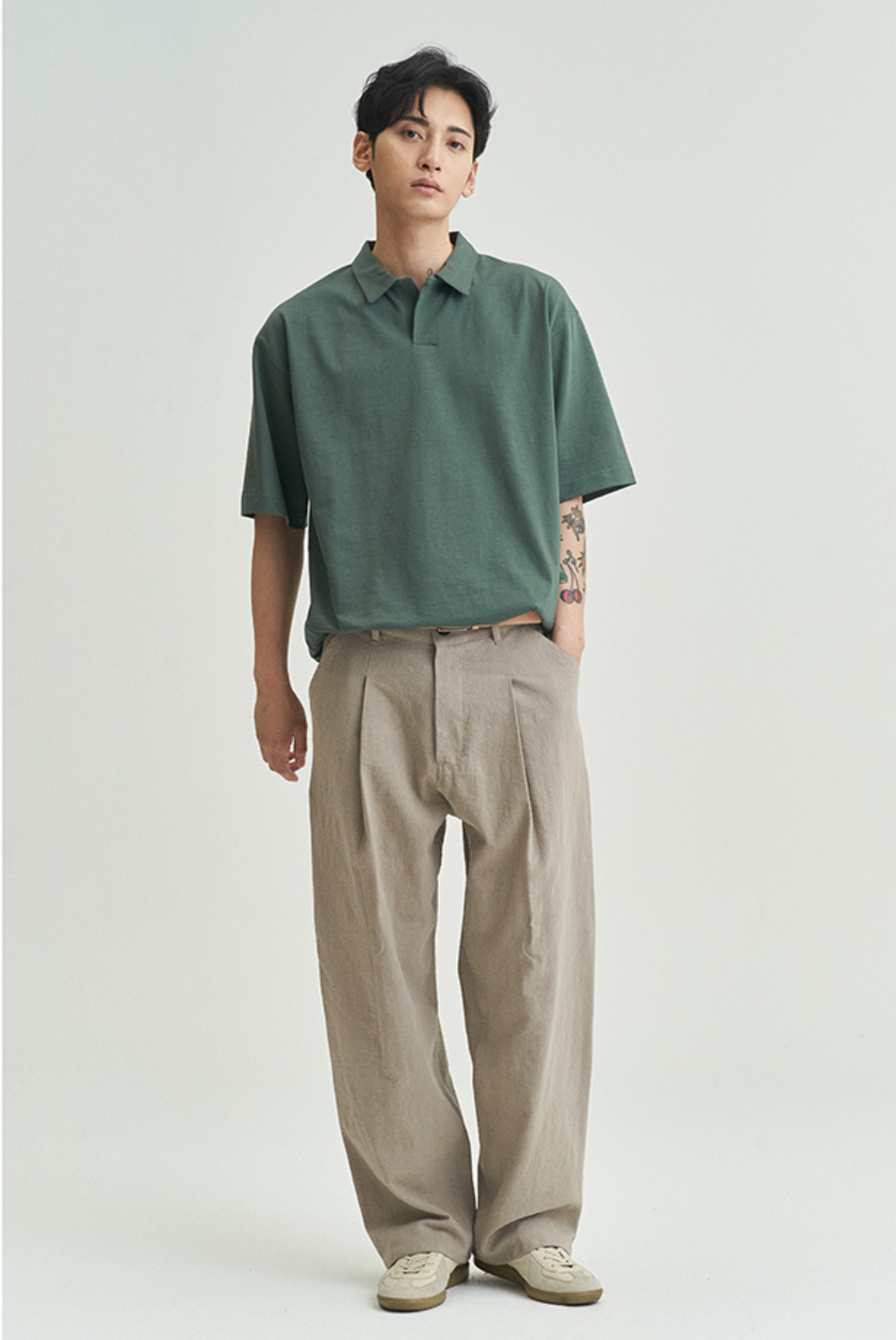 Linen Deep One Tuck Pants [Light Khaki]
