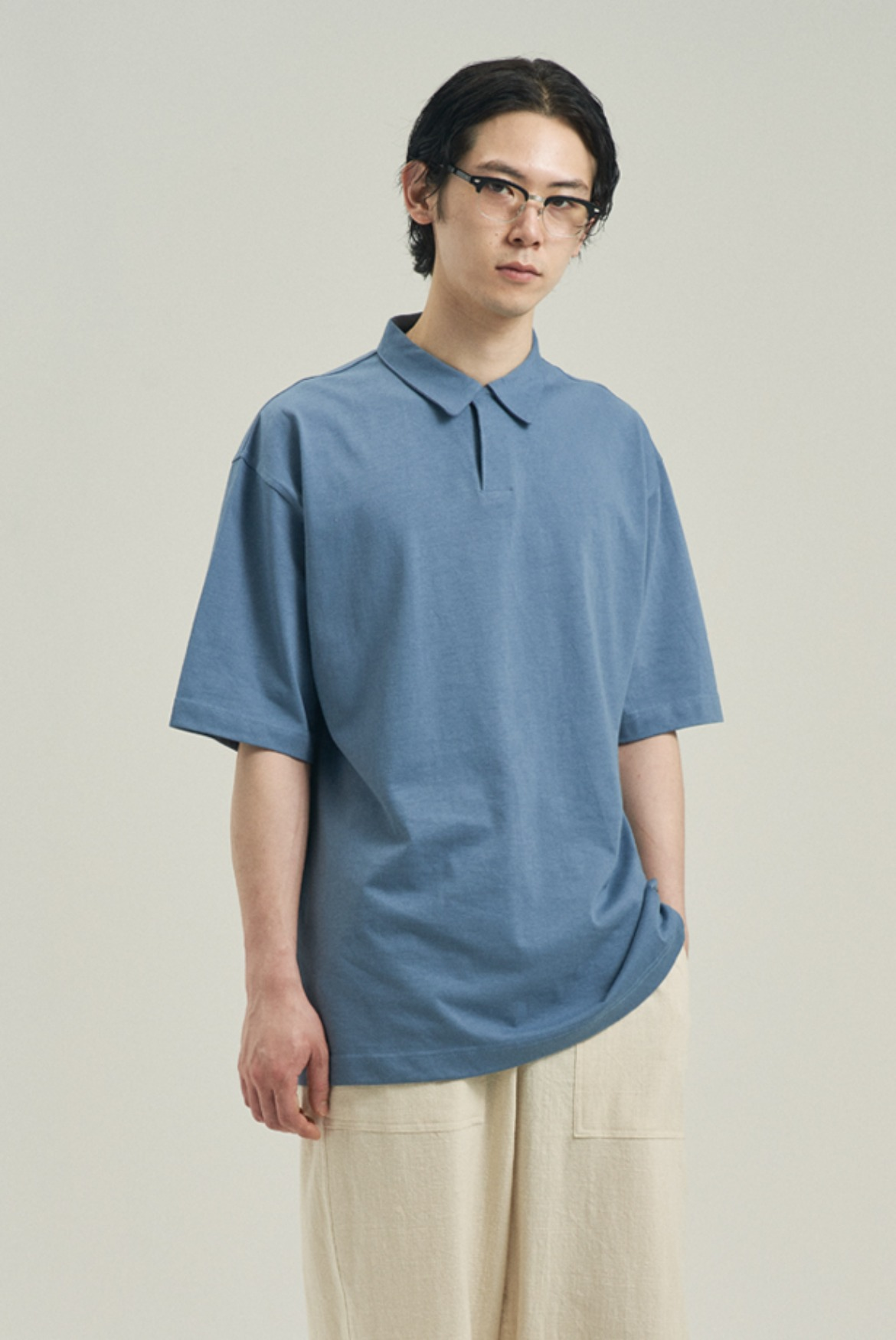 Silket Over Fit Polo Shirts [Pastel Blue]