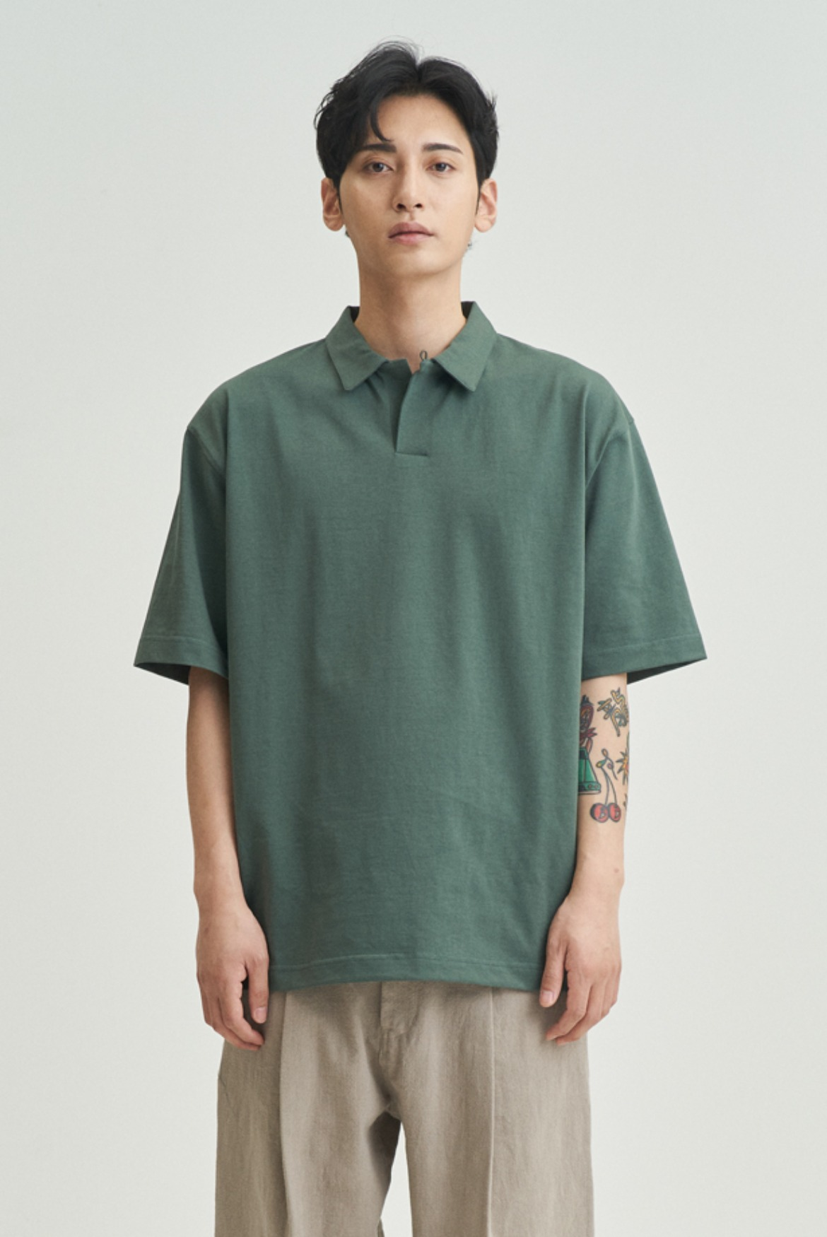 Silket Over Fit Polo Shirts [Forest Green]