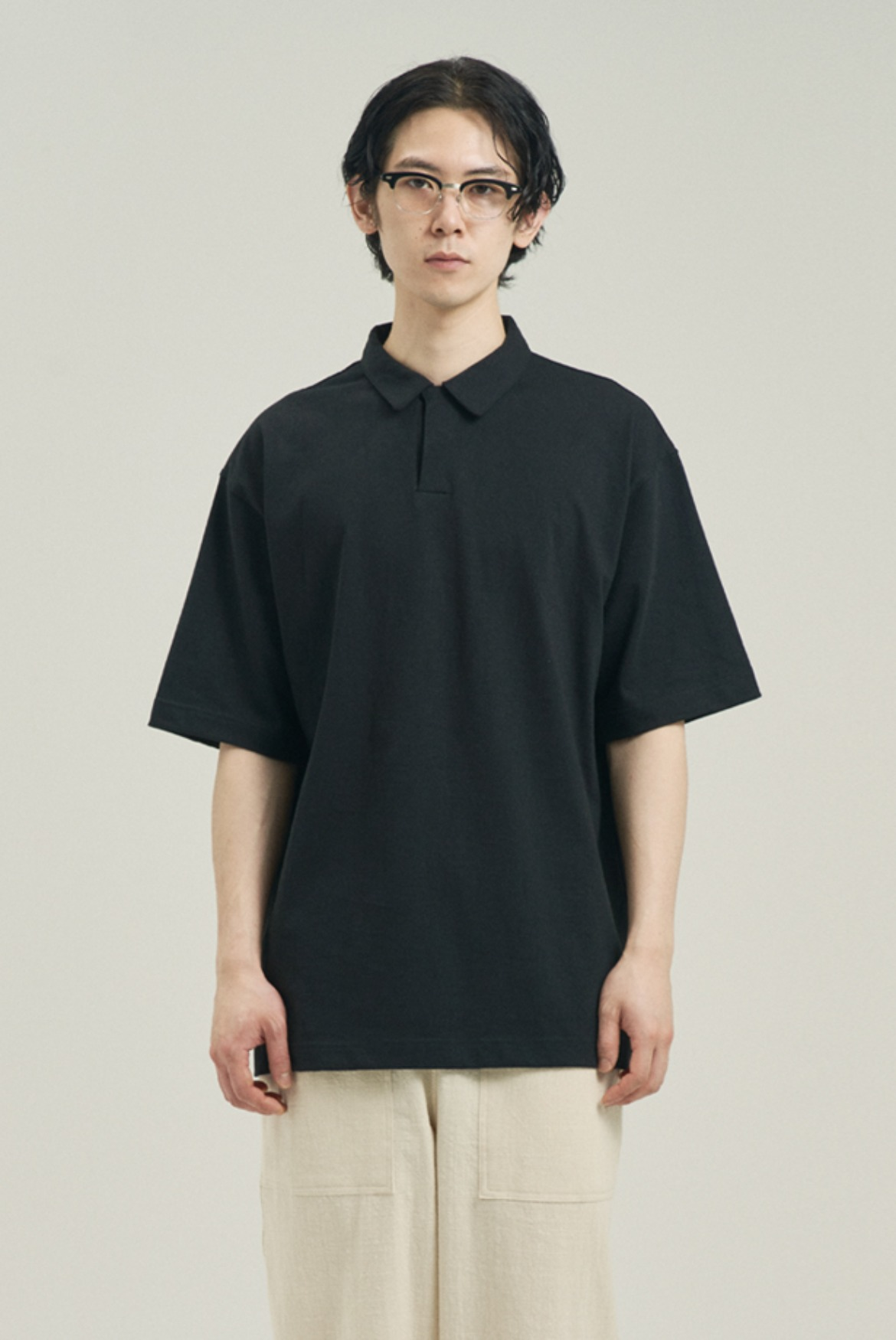 Silket Over Fit Polo Shirts [Black]