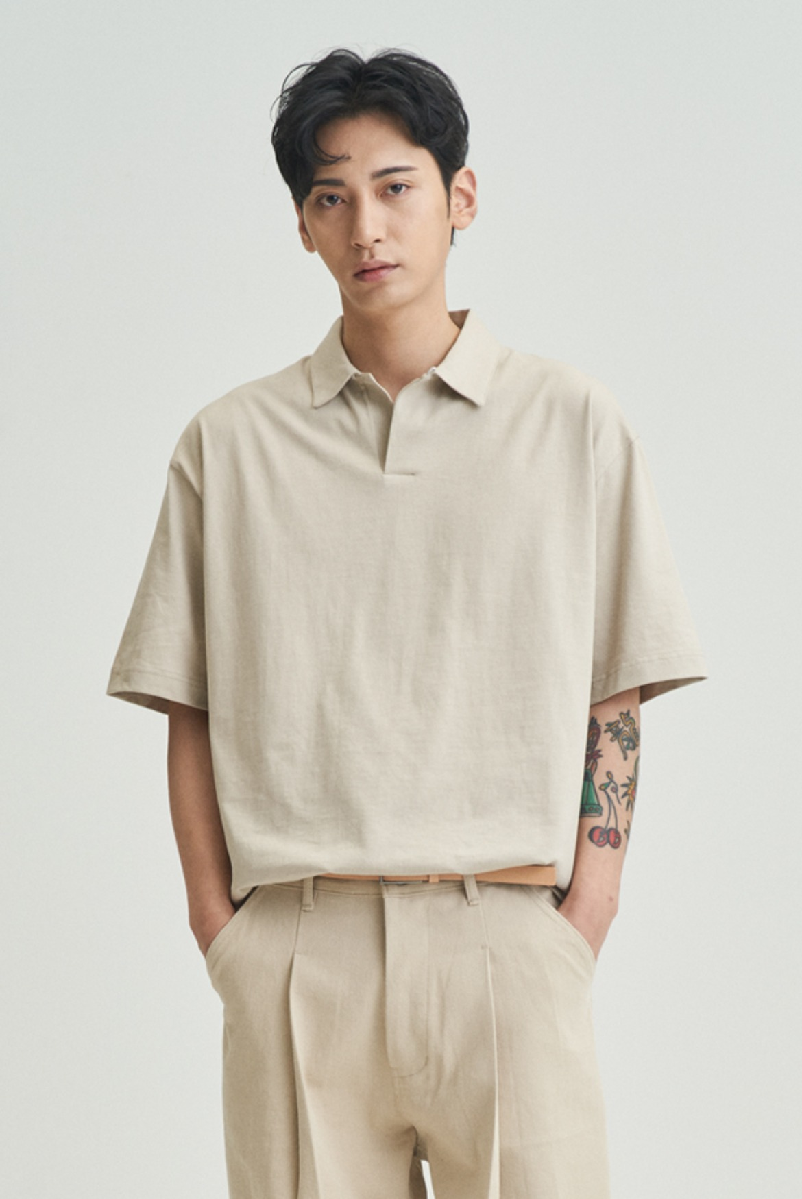 Silket Over Fit Polo Shirts [Light Beige]