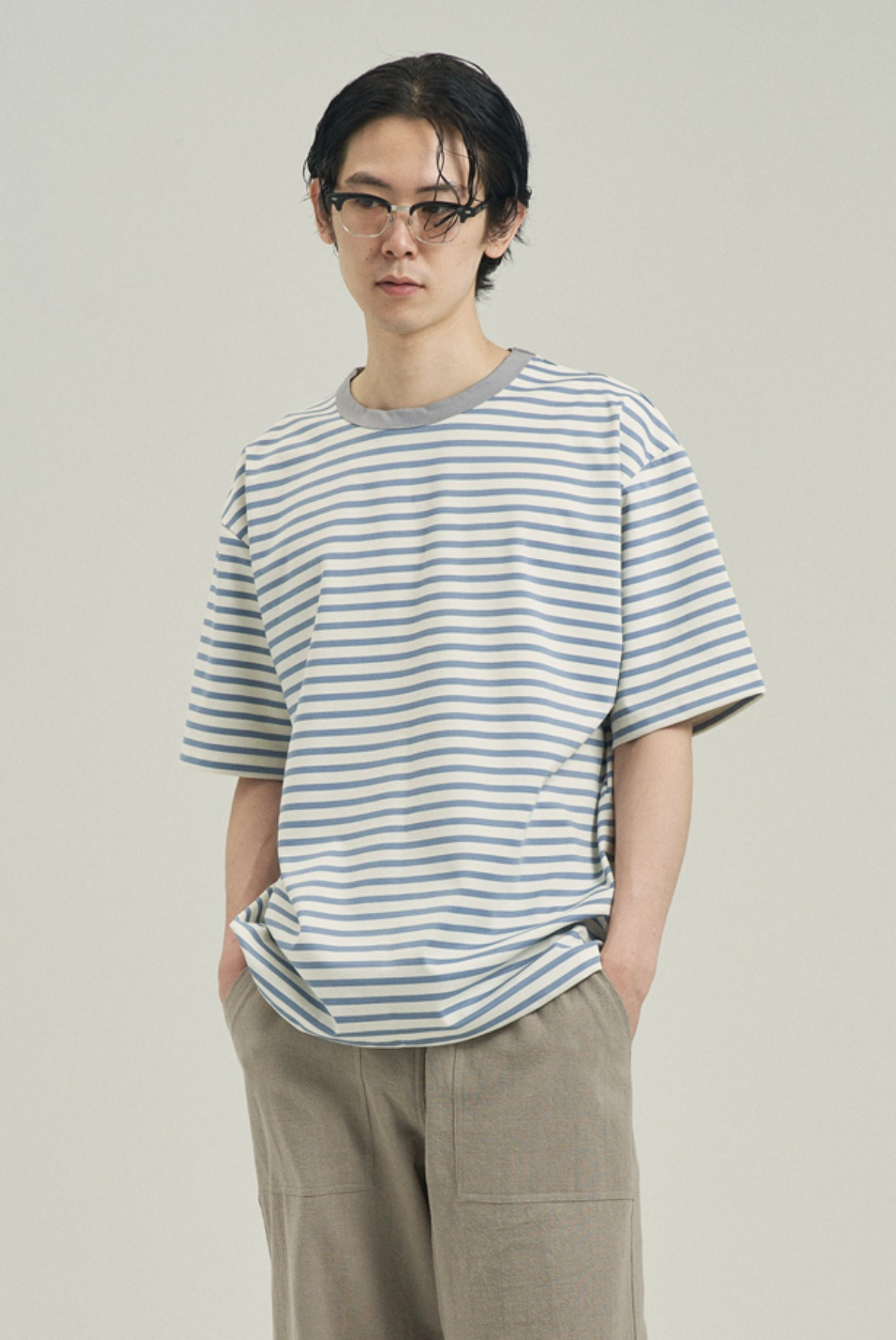 Point Neck Stripe T-Shirts [Sky Blue/Purple Grey]