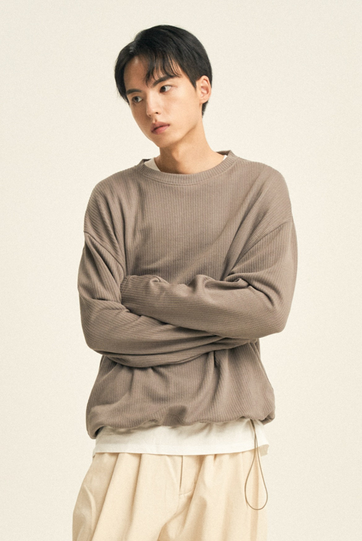 String Ribbed L/S T-Shirts [Mocha]
