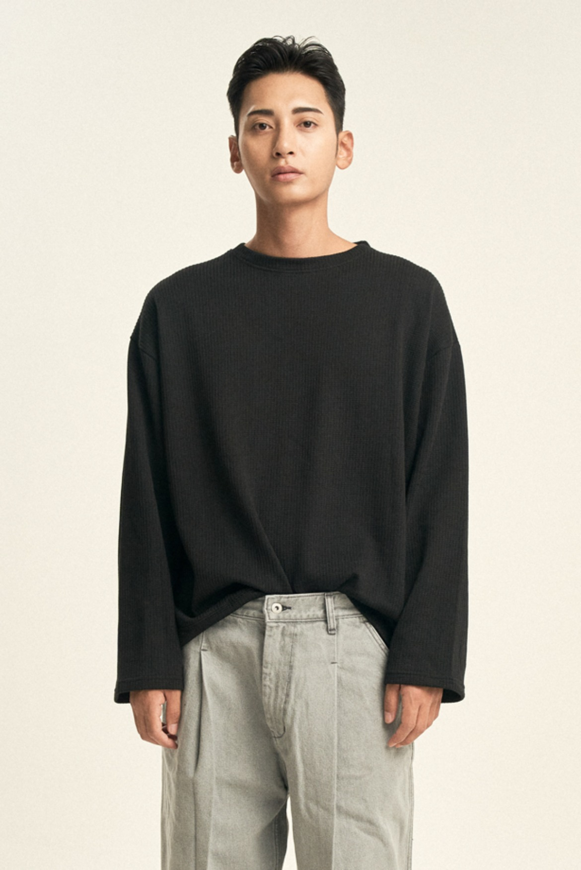 String Ribbed L/S T-Shirts [Black]