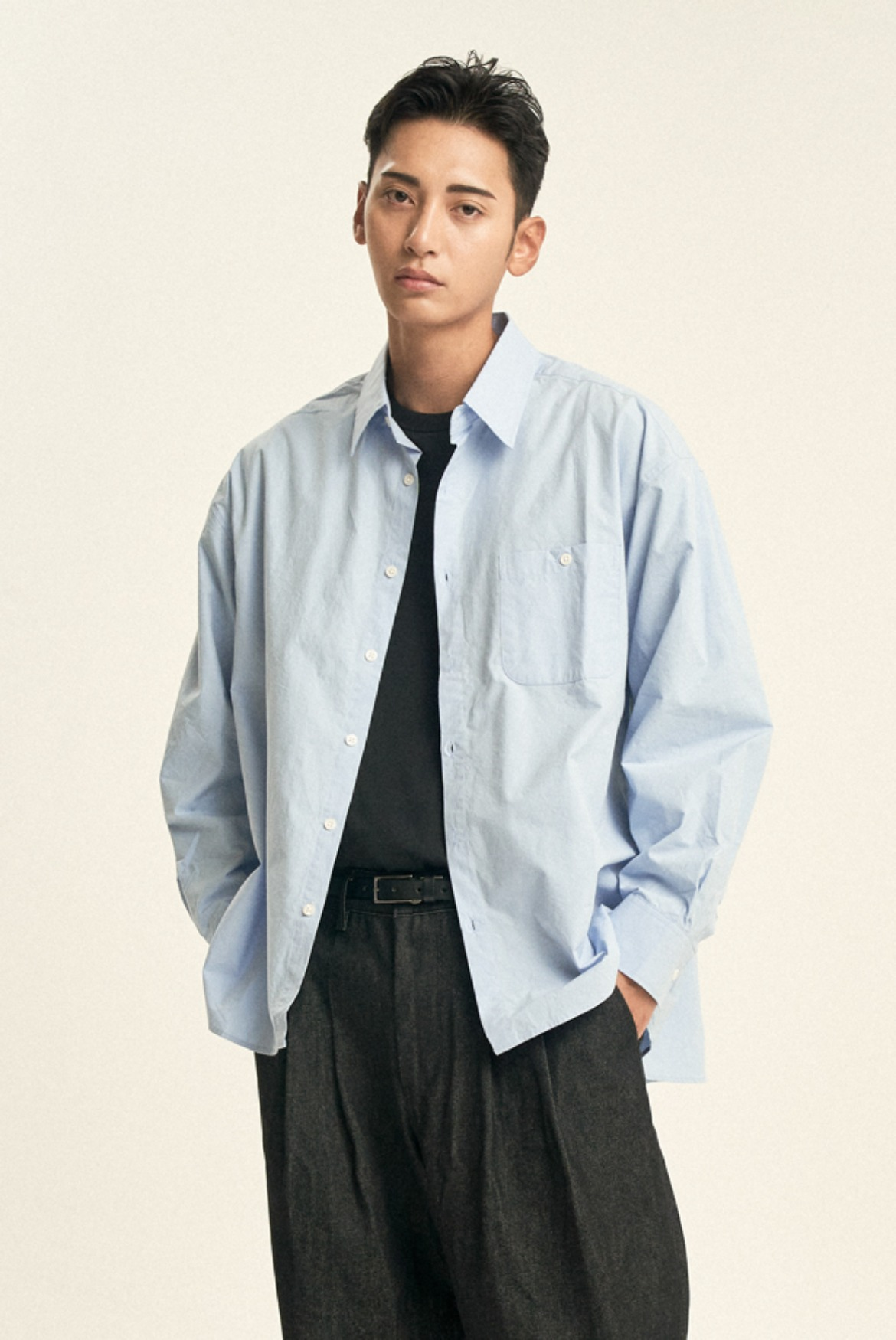 Deep Tuck Shirts [Sky Blue]
