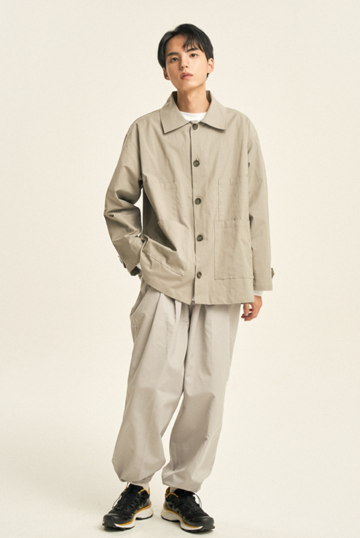 Two Tuck Slacks String Pants [Light Grey]