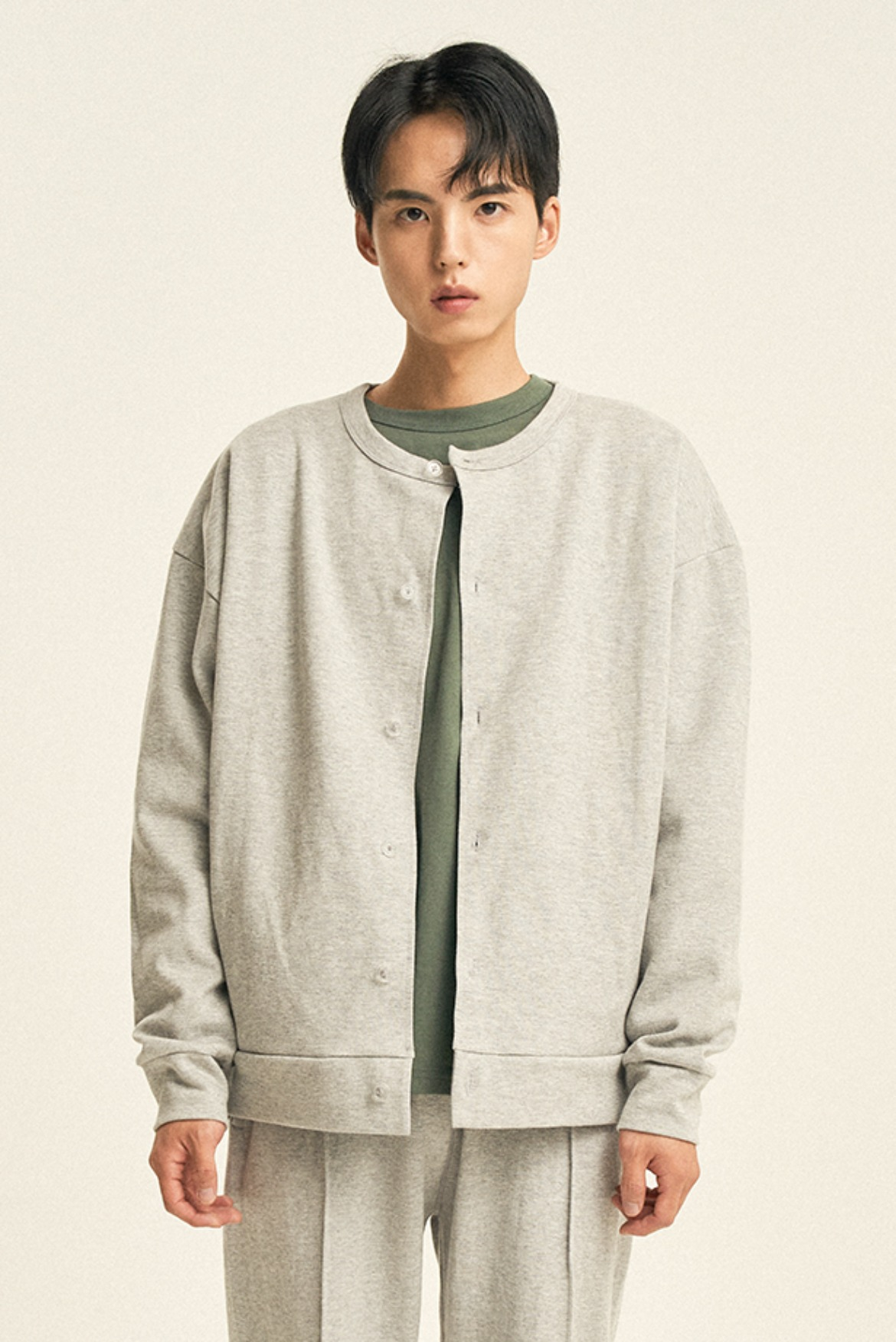 Cardigan Sweat Shirts [Grey]