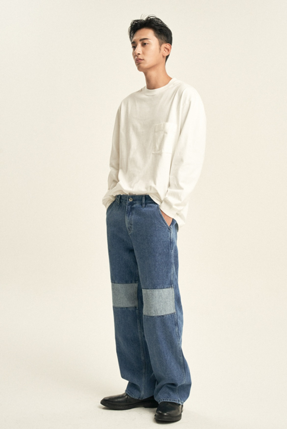 Knee Reverse Wide Regular Denim Pants [Light Blue]