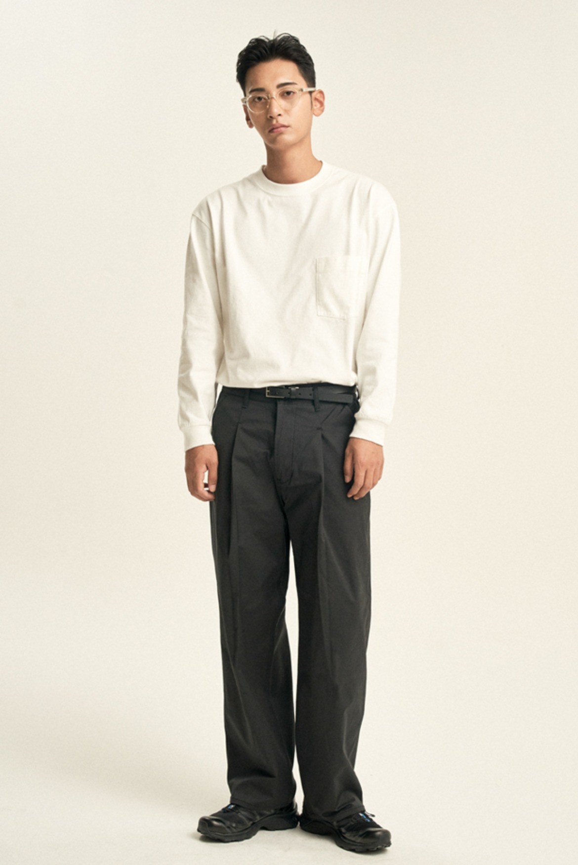Luster Deep One Tuck Pants [Black]