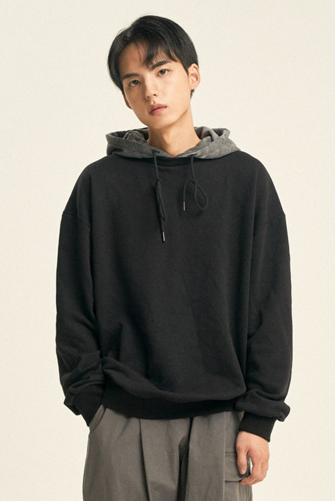 Water Washed Hooded Sweat shirts [Black]