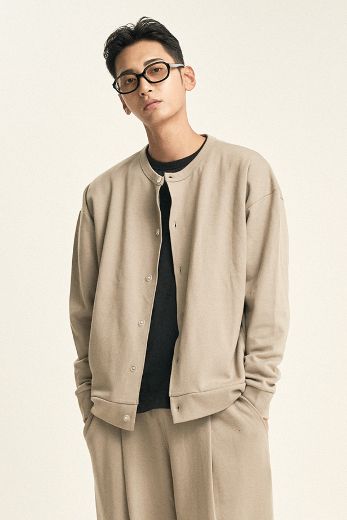 Cardigan Sweat Shirts [Light Khaki]