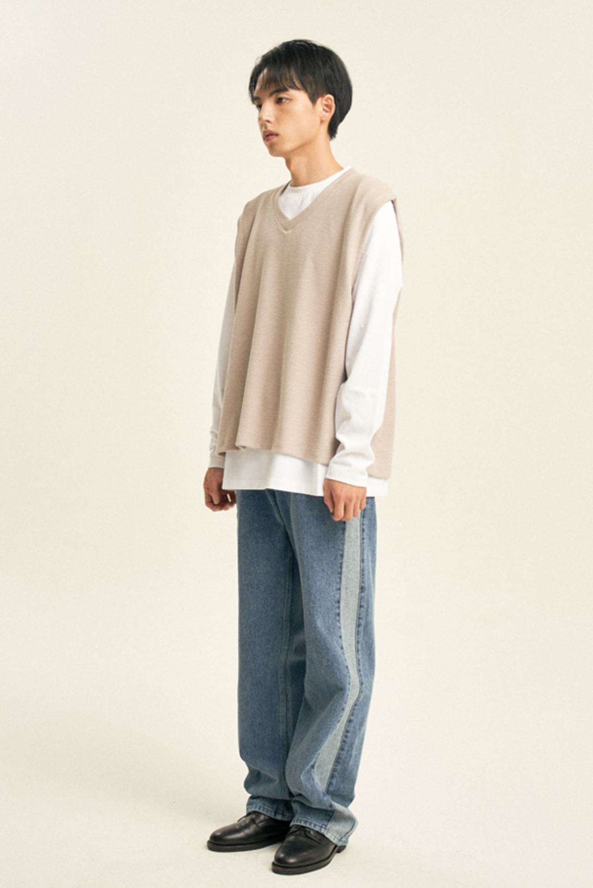 Side Line Reverse Denim Pants [Light Blue]