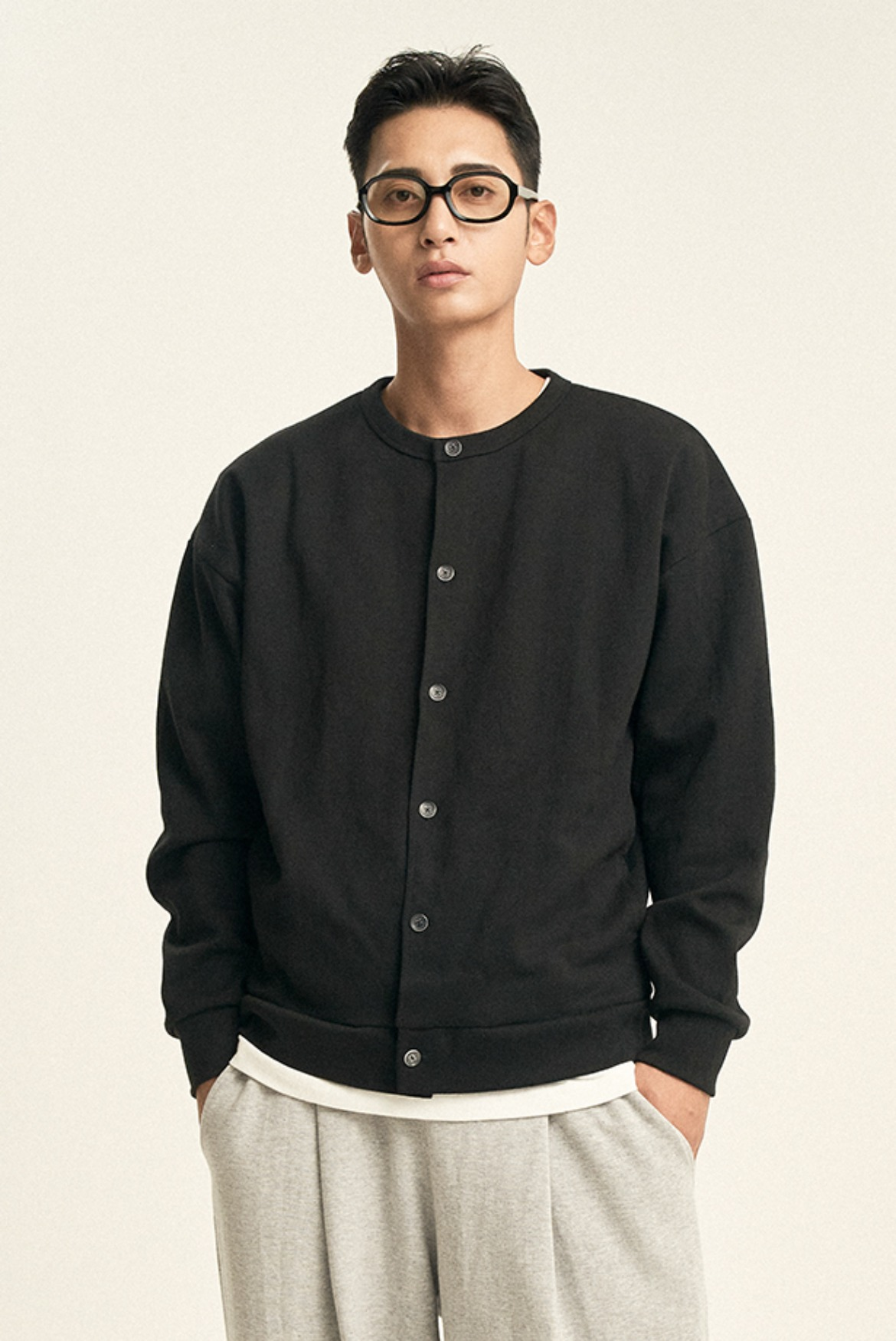 Cardigan Sweat Shirts [Black]