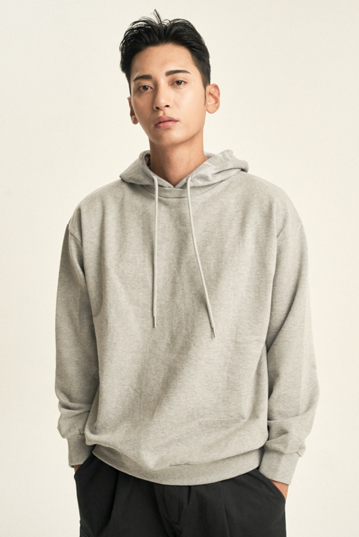 Water Washed Hooded Sweat shirts [Grey]