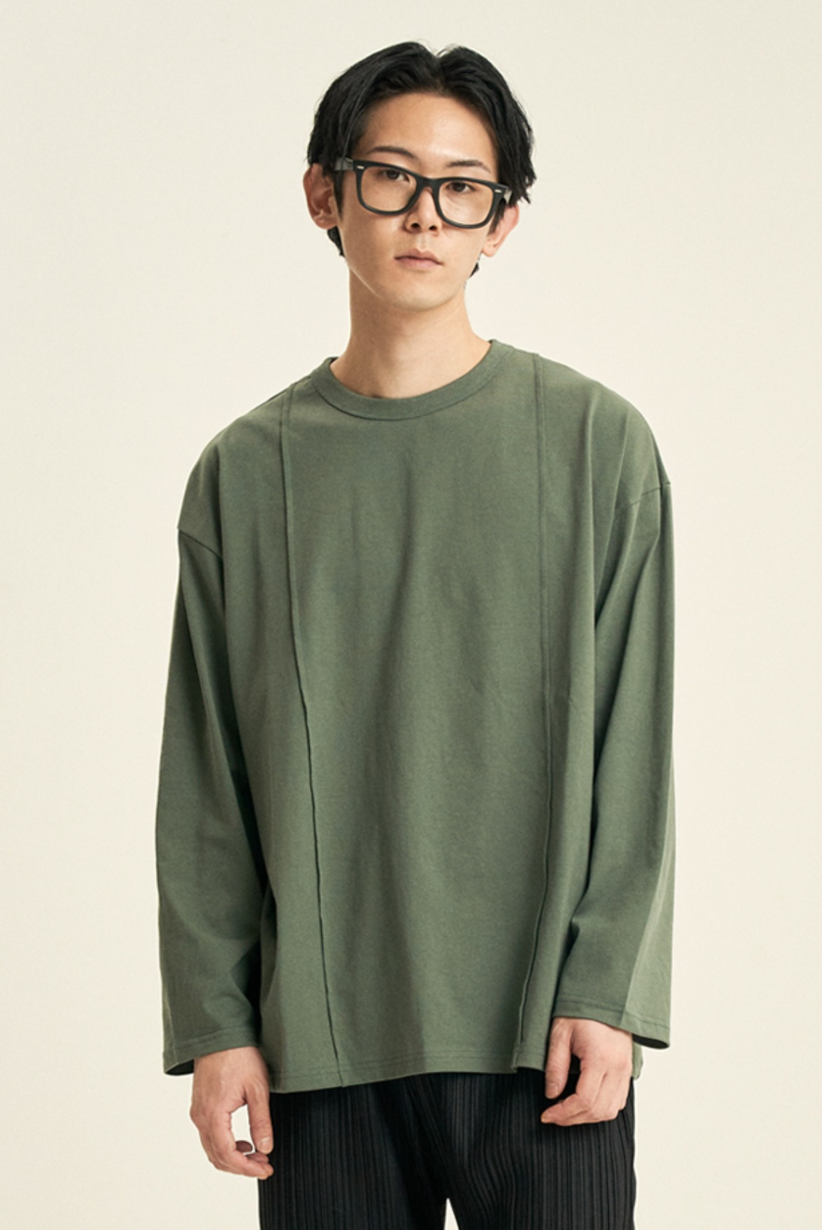 Pin Tuck L/S T-Shirts [Forest Green]