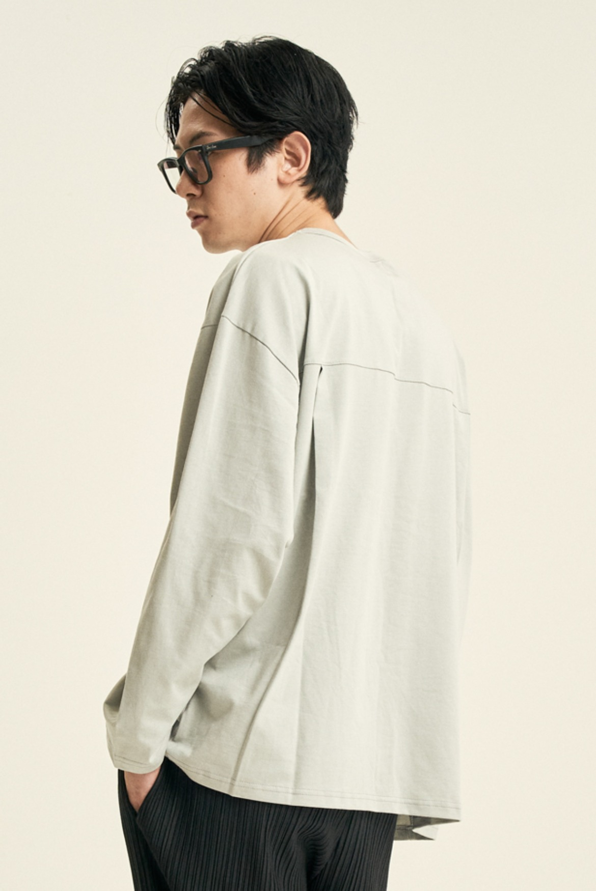 Deep Tuck L/S T-Shirts [Light Grey]
