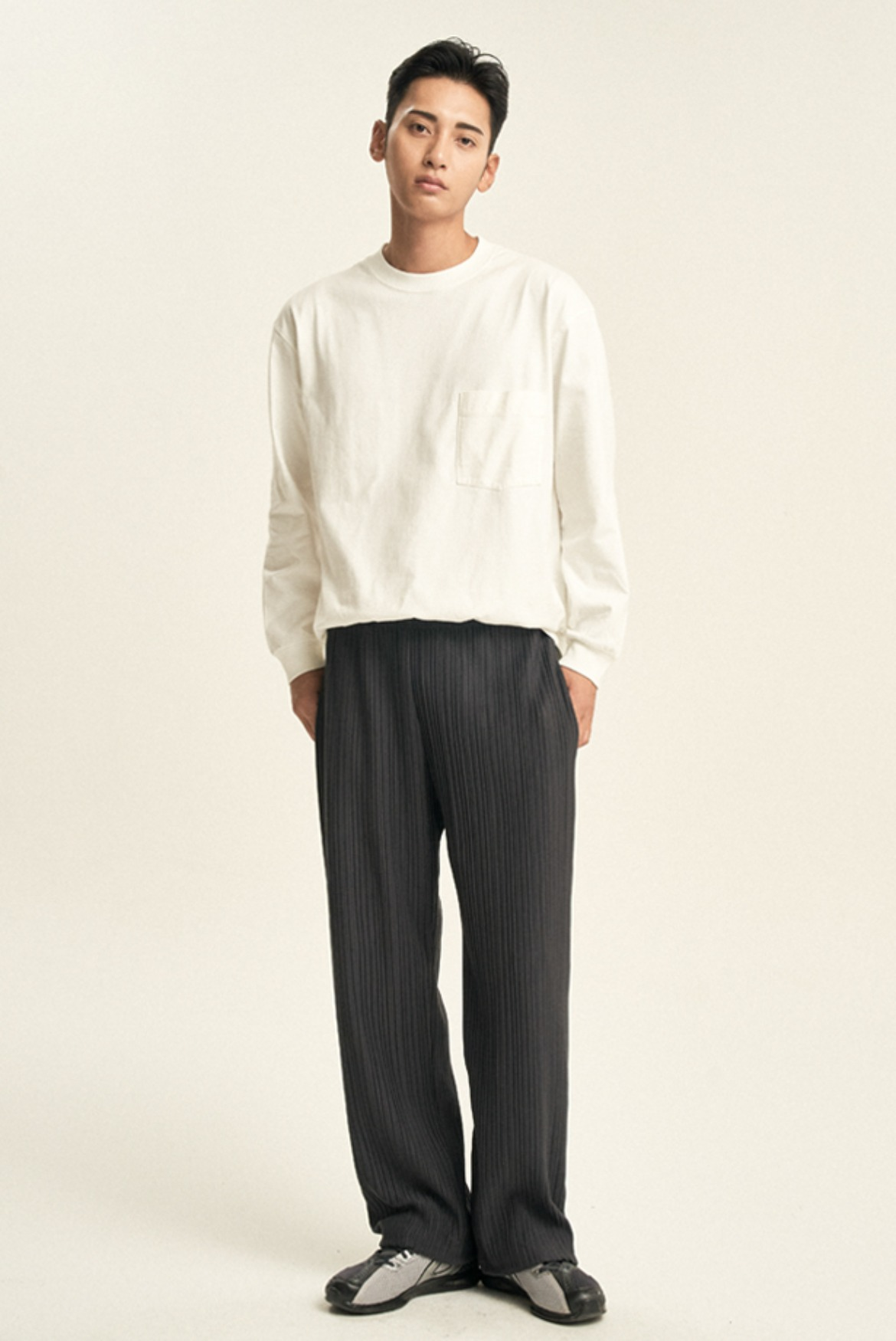 Pleats String Pants [Charcoal]