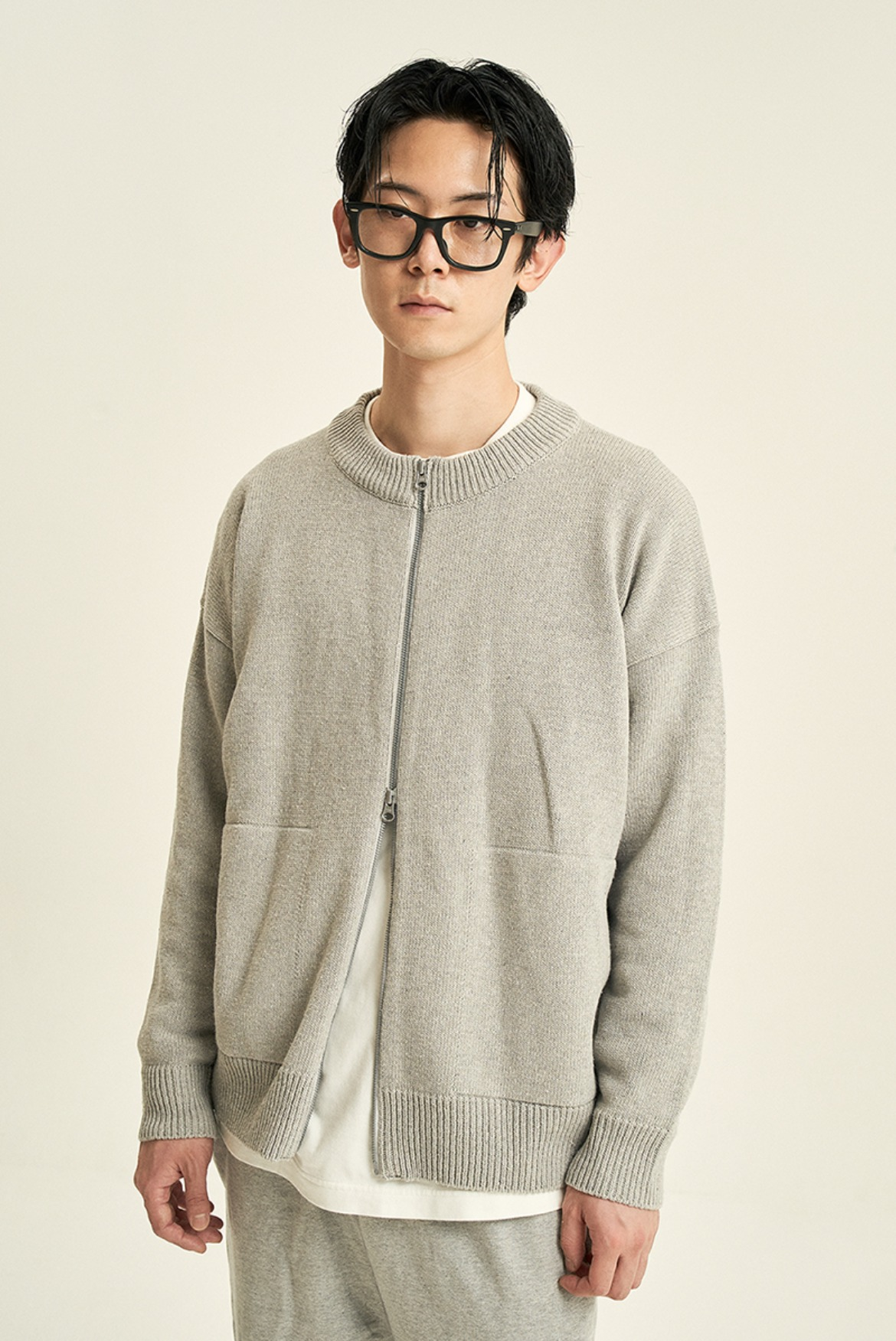 2way Round Neck Cardigan [Grey]