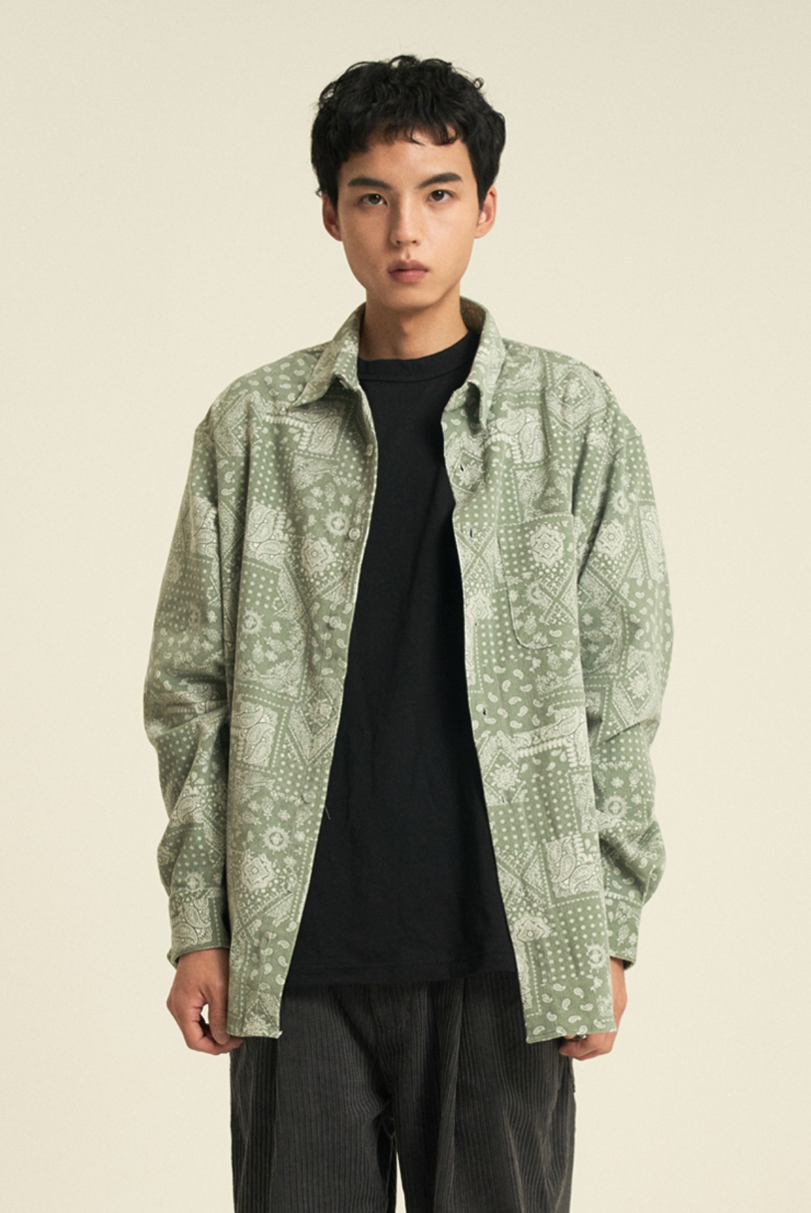Paisley Corduroy Shirts [Hedge Green]